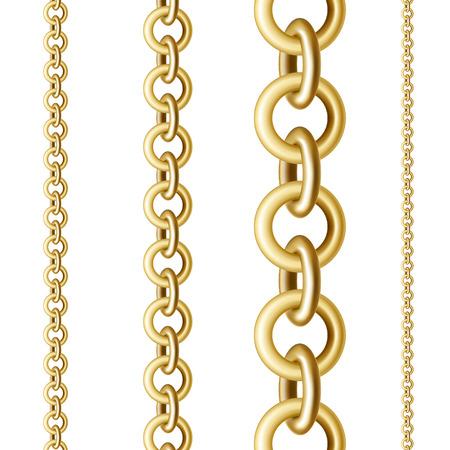 Chaînes rondes dorées de différentes tailles en position verticale sur fond blanc isolé Vecteurs