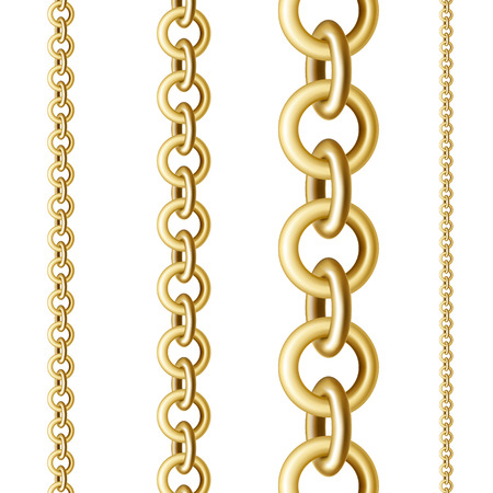 Golden round chains in different sizes in a vertical position on a white isolated background Векторная Иллюстрация