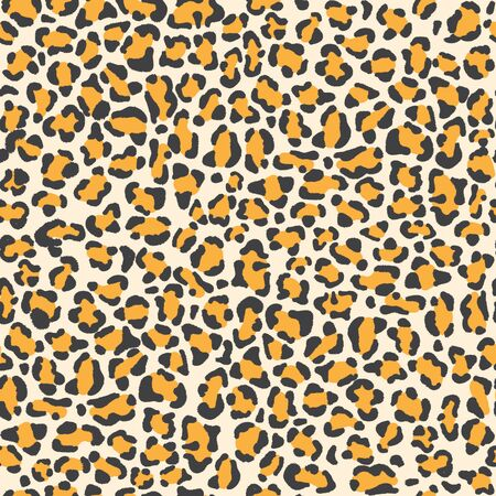 Leopard skin seamless pattern, vector illustration background