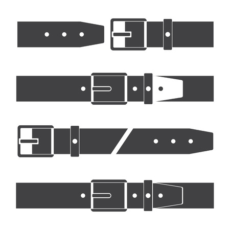 Set of icons of belts in different types on a white isolated background