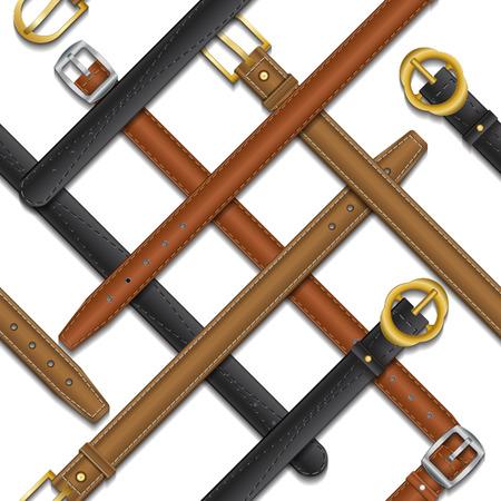 Patrón sin fisuras de diferentes cinturones sobre fondo blanco aislado Ilustración de vector
