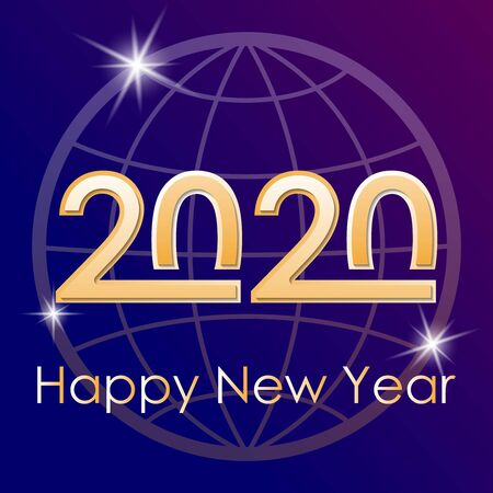 Greeting card for the New Year 2020 against the background of the globe