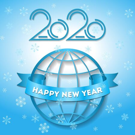 Greeting card for the New Year 2020 against the background of the globe, vector banner