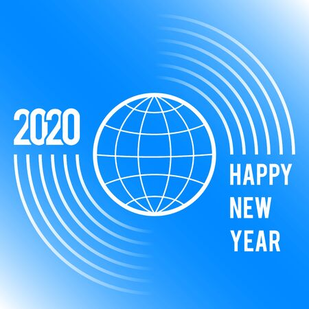 Greeting card for the New Year 2020 for the whole globe on a blue background