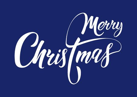 Christmas holiday lettering design. Merry Christmas script calligraphy on a blue background