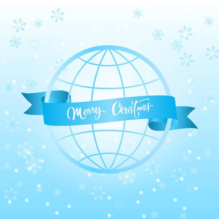 Festive ribbon around the world, and on it congratulations with Christmas on a cold winter background