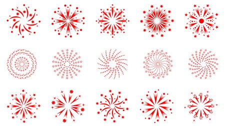 Set of outline icons of various fireworks on an isolated white background