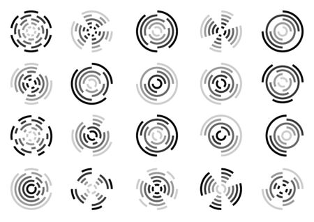 Set of icons of fireworks and explosions of a circular shape using eccentric circles and their segments