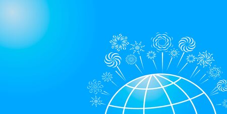 Festive fireworks over part of the globe on a light blue background. Vector.