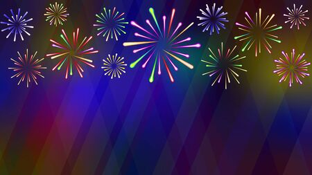 Bright festive fireworks consisting of multi-colored different-sized explosions on a background riddled with luminous rays
