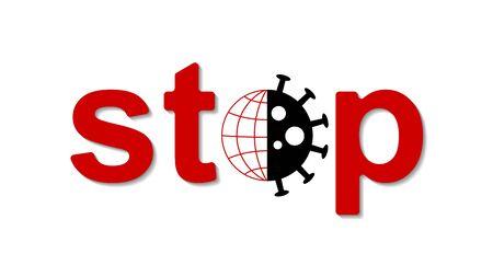Vector banner stop coronavirus that threatens all of humanity on earth Ilustração