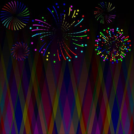 Multi-colored fireworks of various shapes and different styles on an abstract dark background
