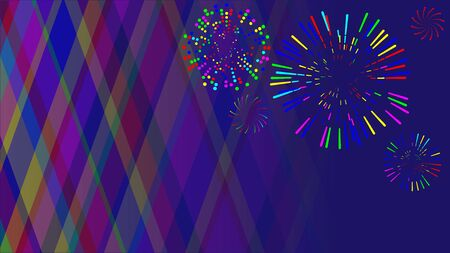 Multi-colored fireworks of various shapes and different styles Ilustración de vector