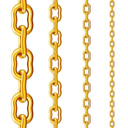Golden chain of the original form in different sizes in an upright position isolated on a white background. Векторная Иллюстрация