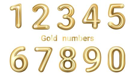 Golden vector numbers. Golden yellow metallic numbers. Gold 3d figures, stylish celebrating font. Ilustrace