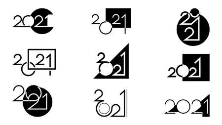 Set of black icons happy new year 2021 made in different styles and compositions using geometric symbols isolated on white background. Vector illustration.