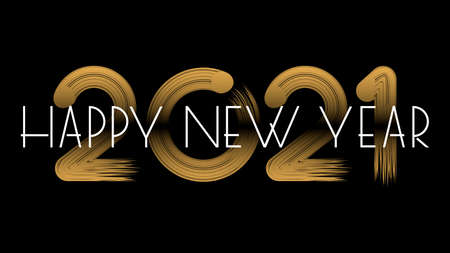 Happy new year 2021 hand lettering text isolated on black background. Design template. Celebration typography poster, banner or greeting card for Merry Christmas and Happy New Year. Vector illustration. Stock Illustratie