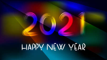 Happy new year 2021 hand lettering text on a dark background pierced by multi-colored rays. Design template. Celebration typography poster, banner or greeting card for Merry Christmas and Happy New Year. Vector illustration.
