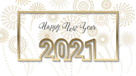 Happy new year lettering framed with a picture 2021 on a white background with fireworks Illustration