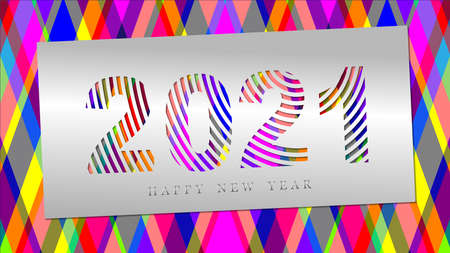 Congratulatory banner Happy New Year 2021. Paper cut numbers of the year on colorful background. Иллюстрация