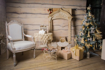 easy chair: beautiful wooden Christmas interior with Christmas tree