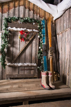 The old wooden Chalet with a decoration background skiing