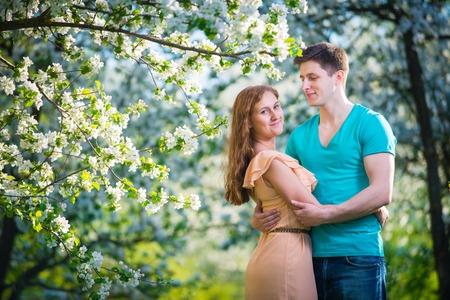 parejas enamoradas: pareja joven y bella en el amor entre los manzanos en flor Foto de archivo