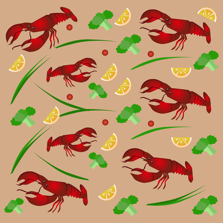 crab legs: Colorful vector illustration of a red crab, near the vegetables