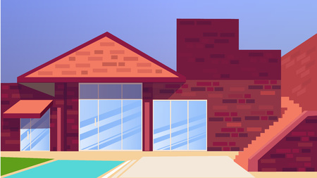 swimming pool home: Big house Villa with swimming pool. Flat style vector illustration.