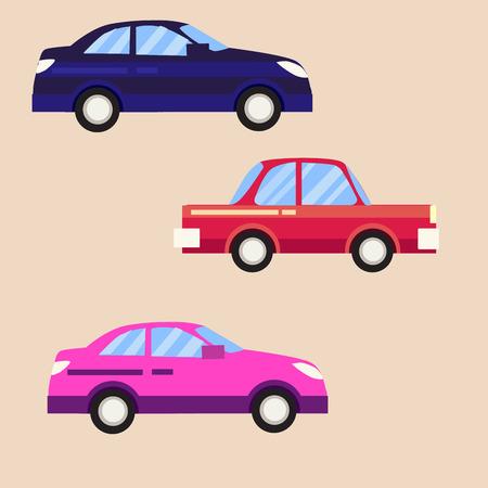 Icon vector retro car set on white background