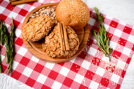 seeds of various: freshly baked bread. Different types of bread and rolls on Board from the top.