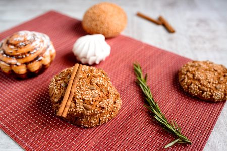 molasses: Warm Homemade ginger biscuit cookie topped with sugar and sesame seeds