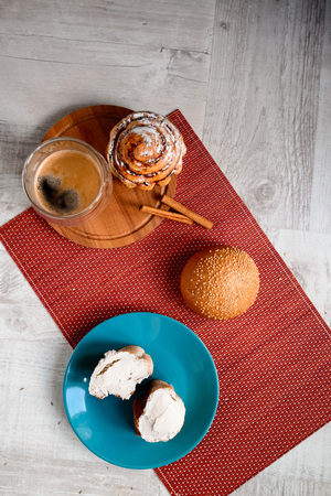 Good morning concept - Breakfast accompanied by delicious frothy espresso cookies Stock Photo
