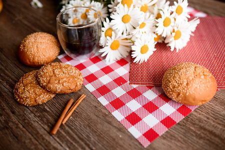 frothy: Good morning concept - Breakfast accompanied by delicious frothy espresso cookies Stock Photo