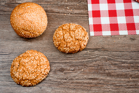 biscuits: Round cookie with sesame seeds. Selective focus.
