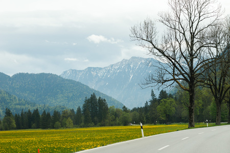 landscape in the Alps with snow-capped mountain peaks in the background, Bavaria, Germany