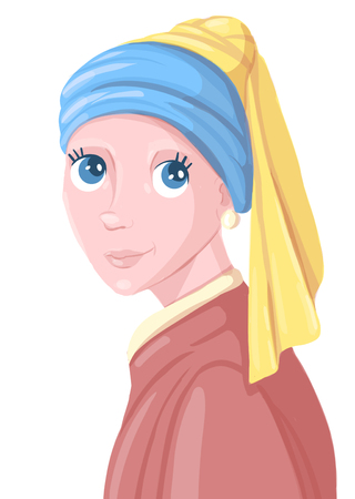 Girl with a The girl with the pearl earring. illustration. Design and printing of t-shirts, clothes.Pearl Earring.  illustration. T-Shirt Design and Printing, clothes.