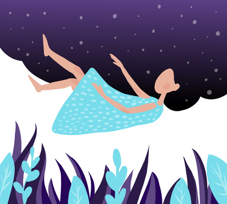 the girl sleeps on a cloud in the blue sky.illustration. Archivio Fotografico - 115534083