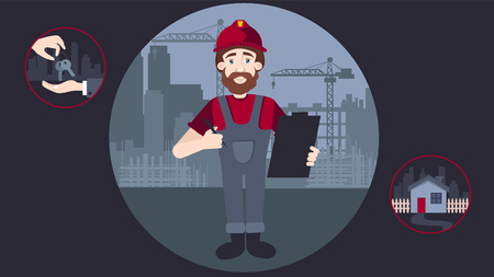 Friendly Builder with a helmet, holding a document and a pen. vector illustration