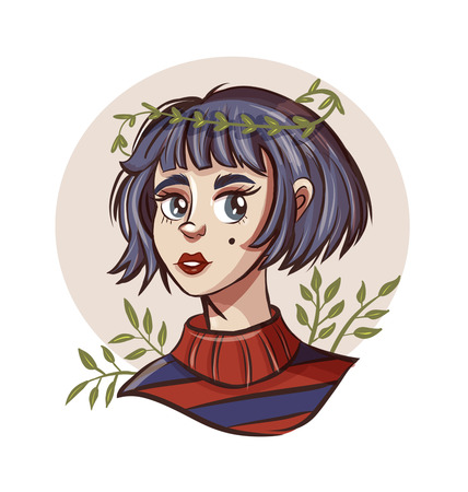 Hand drawn beautiful young woman in wreath. Cute girl with short hair. Sketch. illustration.