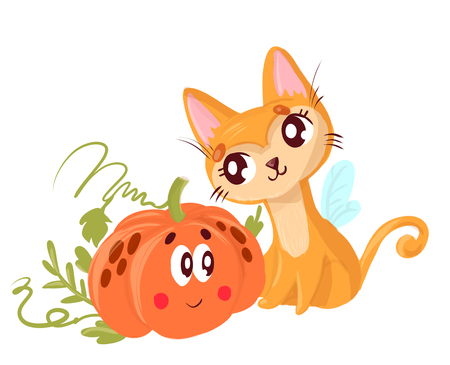 Cute red cat, sitting next to an orange pumpkin. Reklamní fotografie