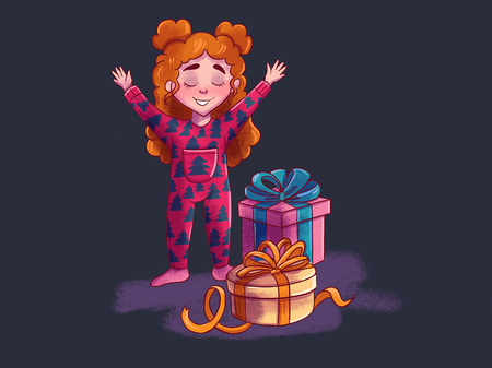 girl open magic gifts near the Christmas tree, Christmas miracle. Illustration in traditional style