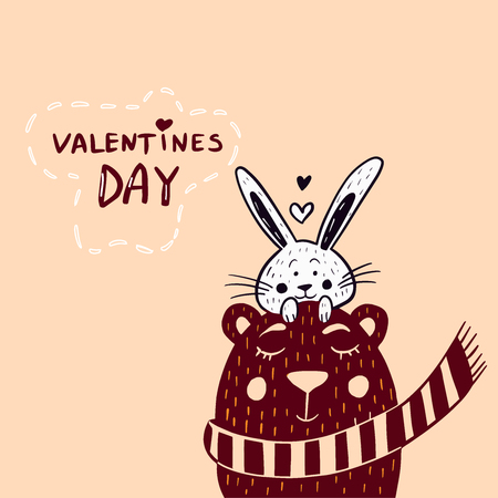 Valentine's day greeting card with cute rabbit and bear