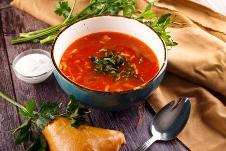 borscht with dumplings, lard and onions. borsch-traditional Ukrainian cuisine red soup with beets, potatoes, meat, carrots, cabbage and garlic Stock fotó