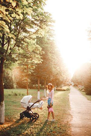 A woman is walking with a baby stroller on the path in the park at sunset.