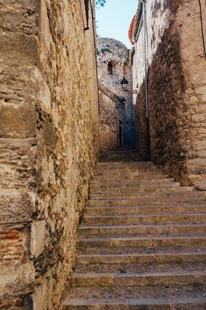 Girona city - Old town street - Catalonia / Spain Stock Photo