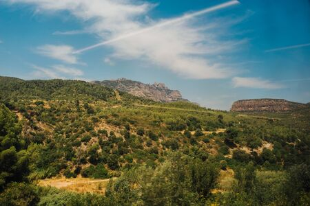 The mountain views from the top monastery in Montserrat, Spain Catalonia