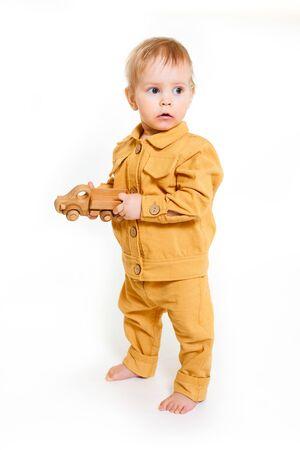 Portrait of fashionable little boy isolated on white background Imagens
