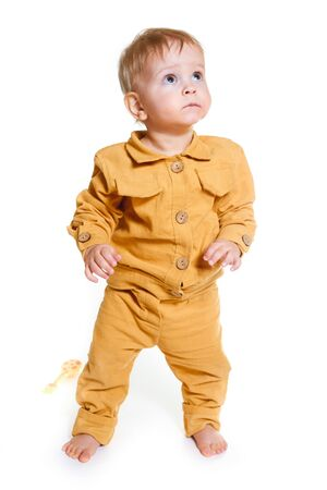 Portrait of fashionable little boy isolated on white background