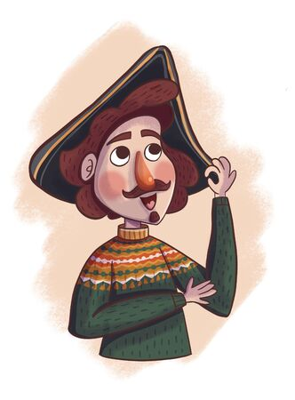 Emperor Peter 1 in a sweater and cocked hat. Children's illustration on a beige background